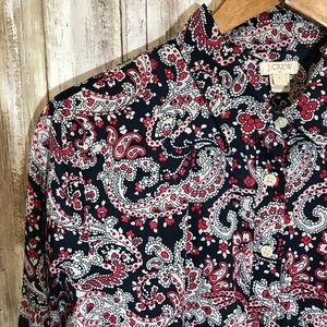J Crew Factory Paisley Cotton Button Down Sz Large